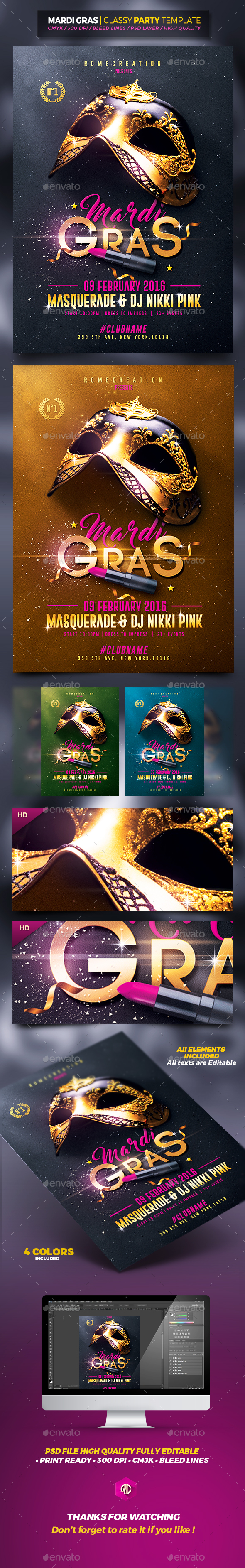 Mardi Gras | Classy Flyer Template - Events Flyers