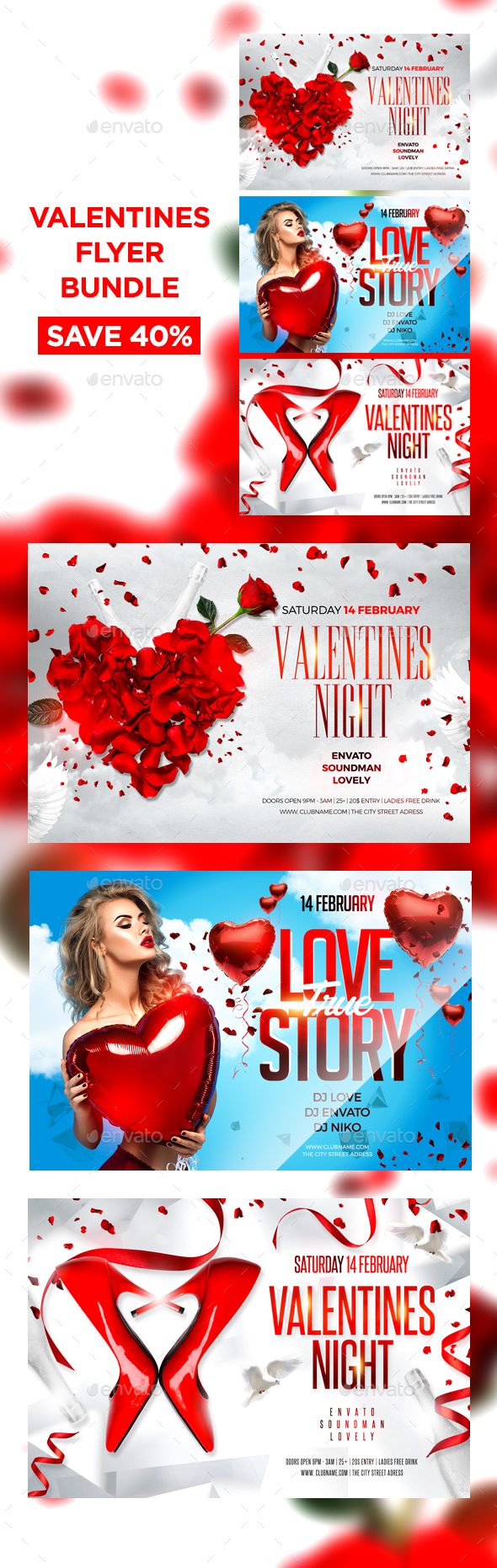 Valentines Flyer Bundle - Clubs & Parties Events