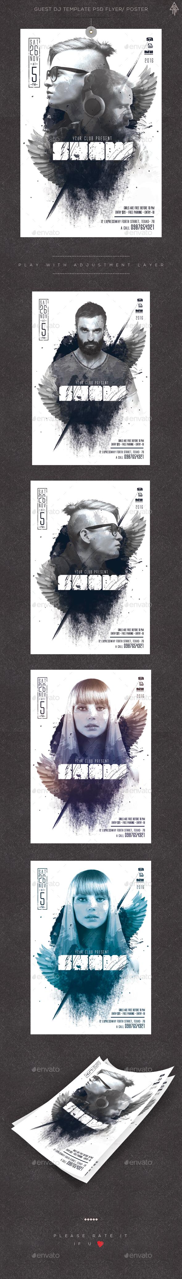 Guest DJ Template PSD Flyer/ Poster - Clubs & Parties Events