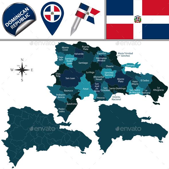 Map of Dominican Republic - Travel Conceptual
