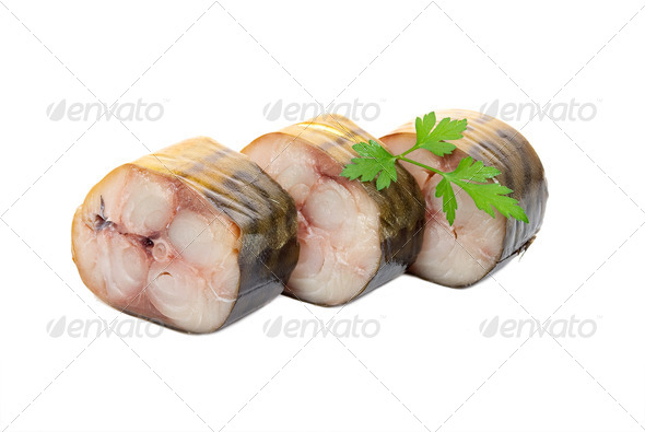 Smoked mackerel sliced - Stock Photo - Images