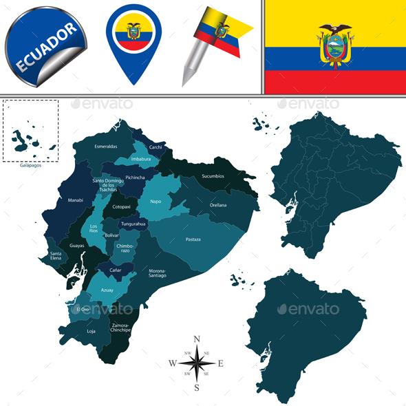 Map of Ecuador with Named Provinces - Travel Conceptual