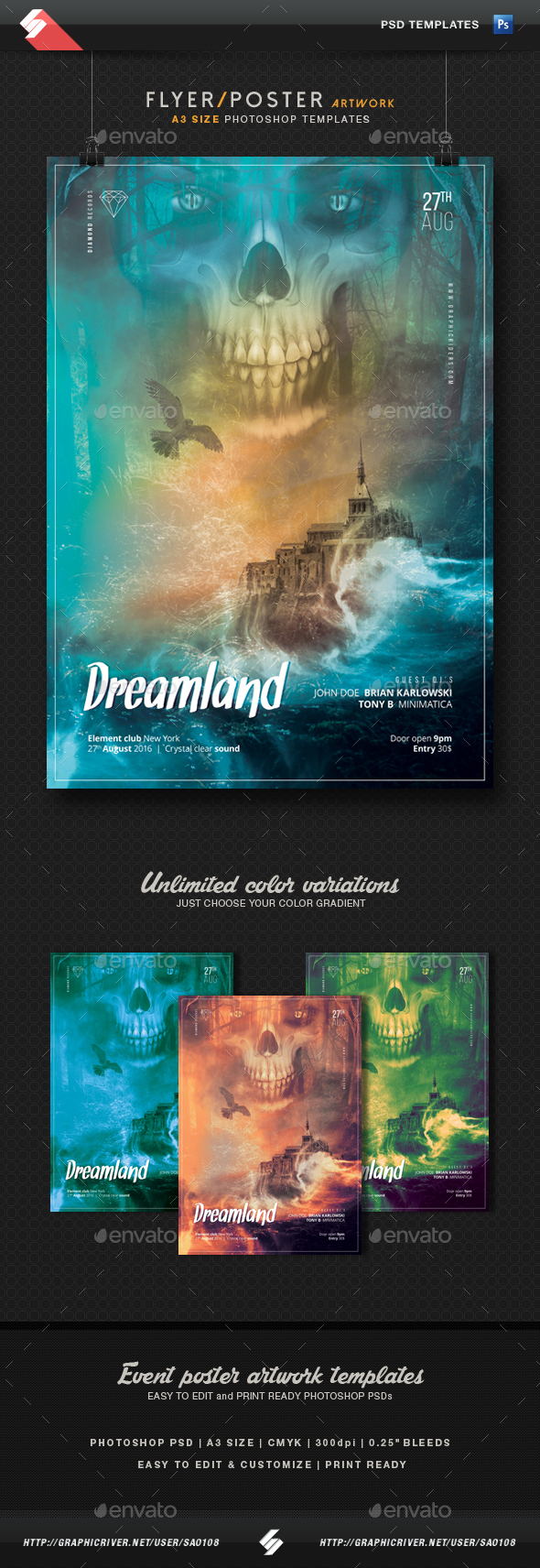 Dreamland - Event Flyer Template A3 - Events Flyers
