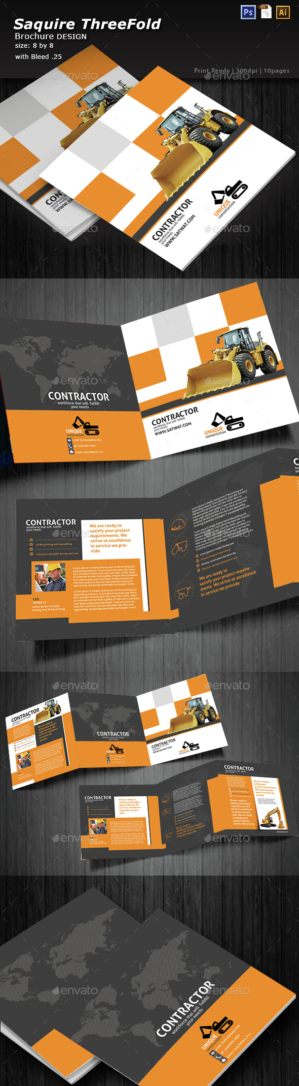 Construction Tri-fold Square Brochure - Brochures Print Templates