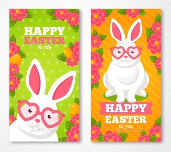 Easter Banners With Flat White Rabbit - Miscellaneous Seasons/Holidays