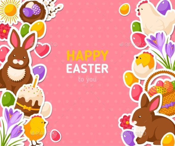 Happy Easter Pink Banner with Flat Stickers - Miscellaneous Seasons/Holidays