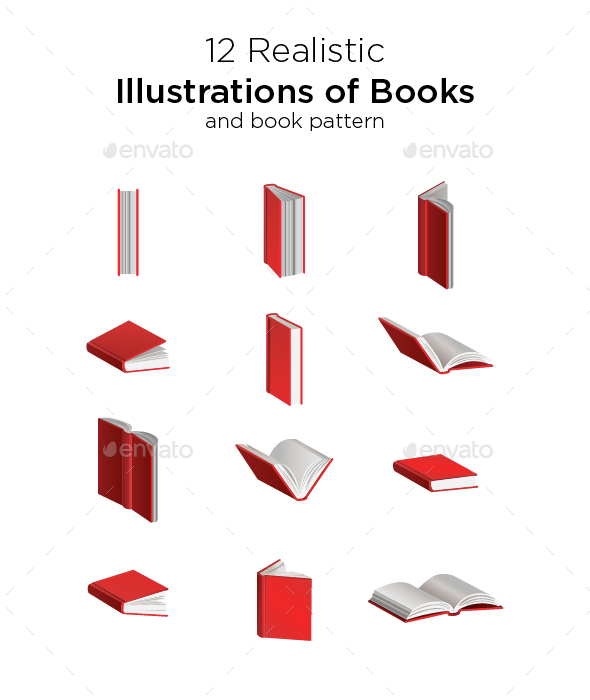 12 Books Illustration - Man-made Objects Objects