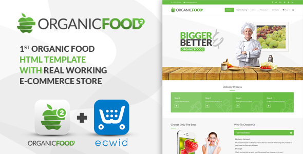 Organic Food – Kitchen, Farm, Corporate, Landing Page & E-commerce HTML Template