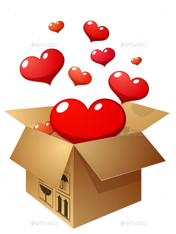 Box with Flying Hearts Illustration - Valentines Seasons/Holidays