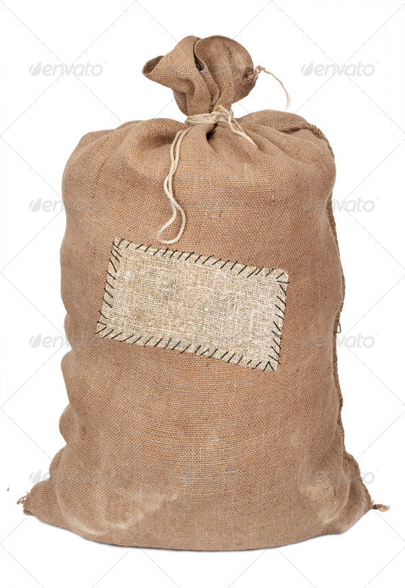 Big sack with label - Stock Photo - Images