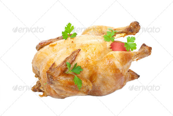Grilled chicken with fresh vegetables - Stock Photo - Images