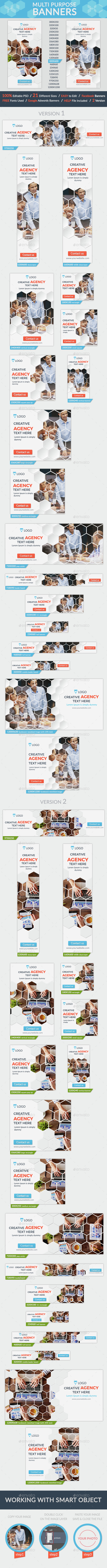 Multi Purpose Banners + 2facebook banners - Banners & Ads Web Elements