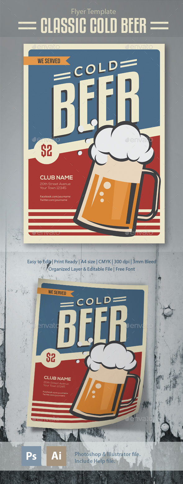 Classic Cold Beer Flyer Template - Clubs & Parties Events