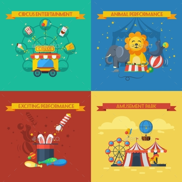 Circus Flat Set - Animals Characters
