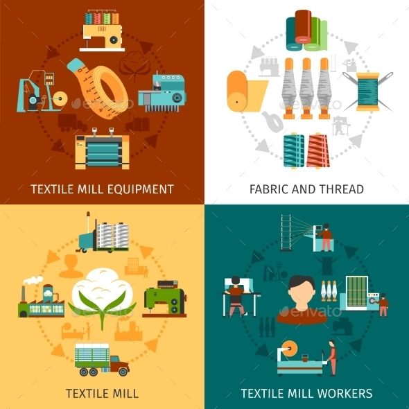 Textile Mill 4 Flat Icons Square - Industries Business