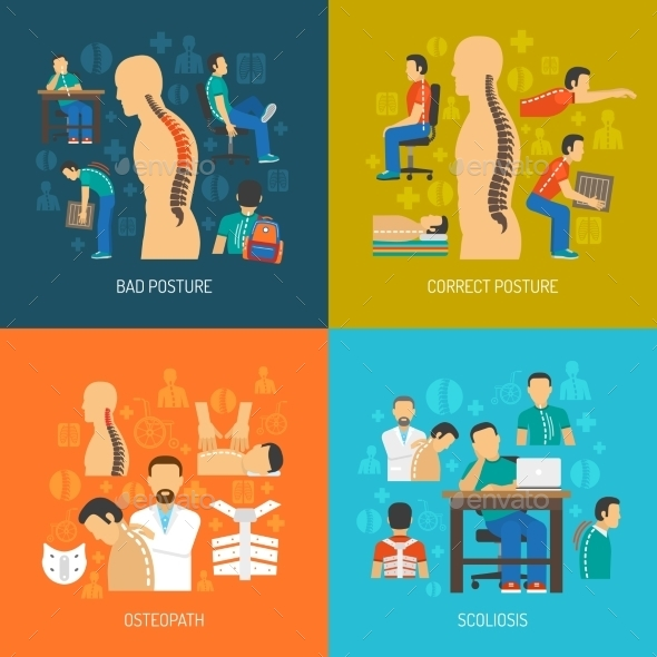 Posture 2X2 Design Concept Set  - People Characters