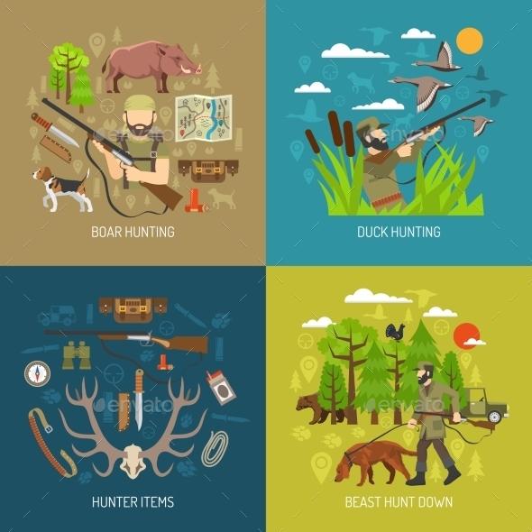 Hunting 2X2 Design Concept Set  - Decorative Symbols Decorative