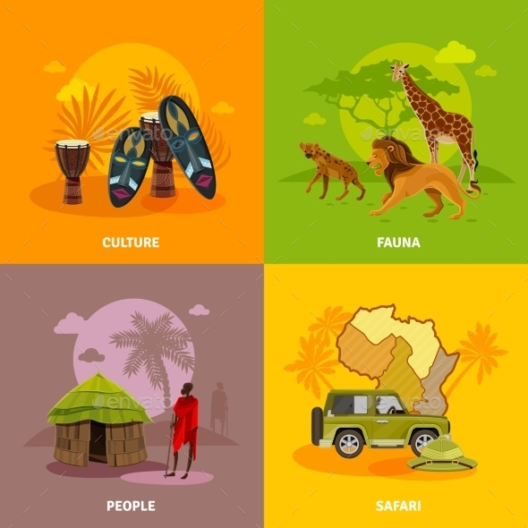 Africa Concept Icons Set - Travel Conceptual