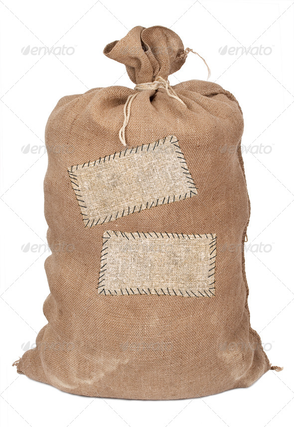 Big sack with labels - Stock Photo - Images