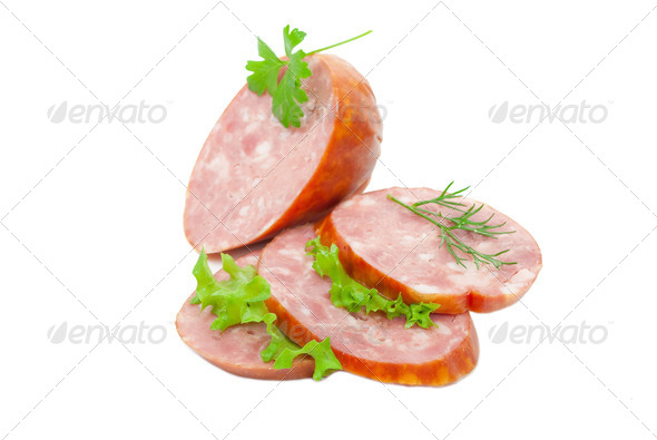 Sausage with green vegetable - Stock Photo - Images