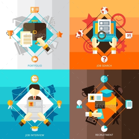 Resume 2X2 Design Concept Set  - People Characters