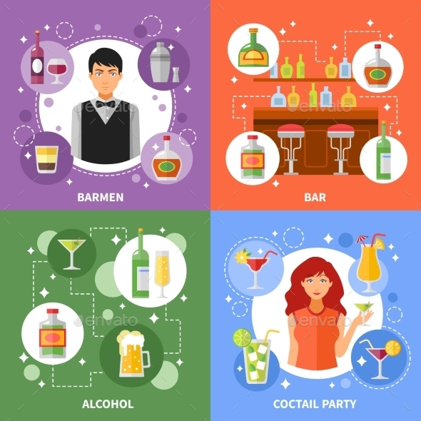 Bar Concept 4 Flat Icons Square  - Miscellaneous Conceptual