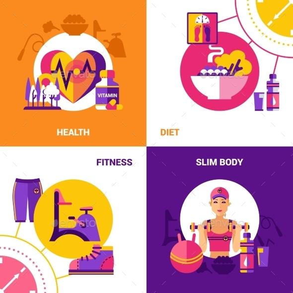 Fitness 2X2 Design Concept Set - Abstract Conceptual