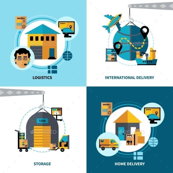 Logistics 2X2 Design Concept Set - Abstract Conceptual