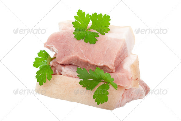 Raw pork with parsley - Stock Photo - Images