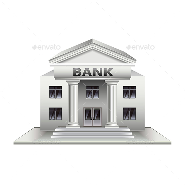 Bank Building Isolated on White Vector - Buildings Objects