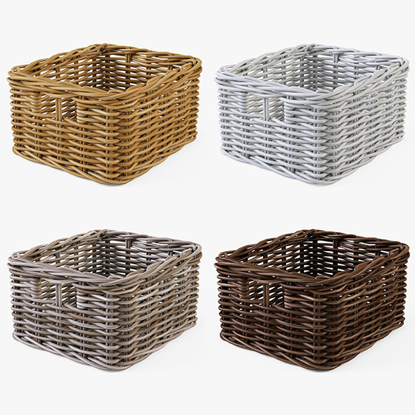 Wicker Basket Ikea Byholma 1 Set(4 Color) - 3DOcean Item for Sale