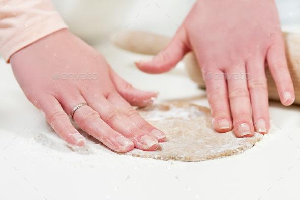 Baking and Flatten Dough - Stock Photo - Images