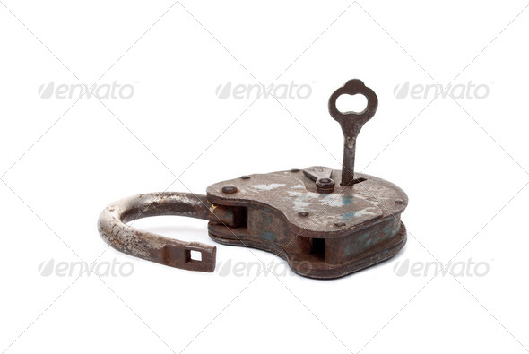 Opened lock and key - Stock Photo - Images