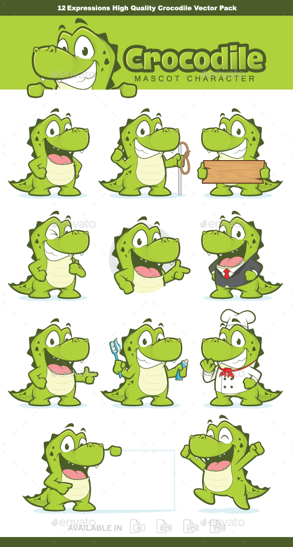 Crocodile or Alligator Mascot Character - Animals Characters