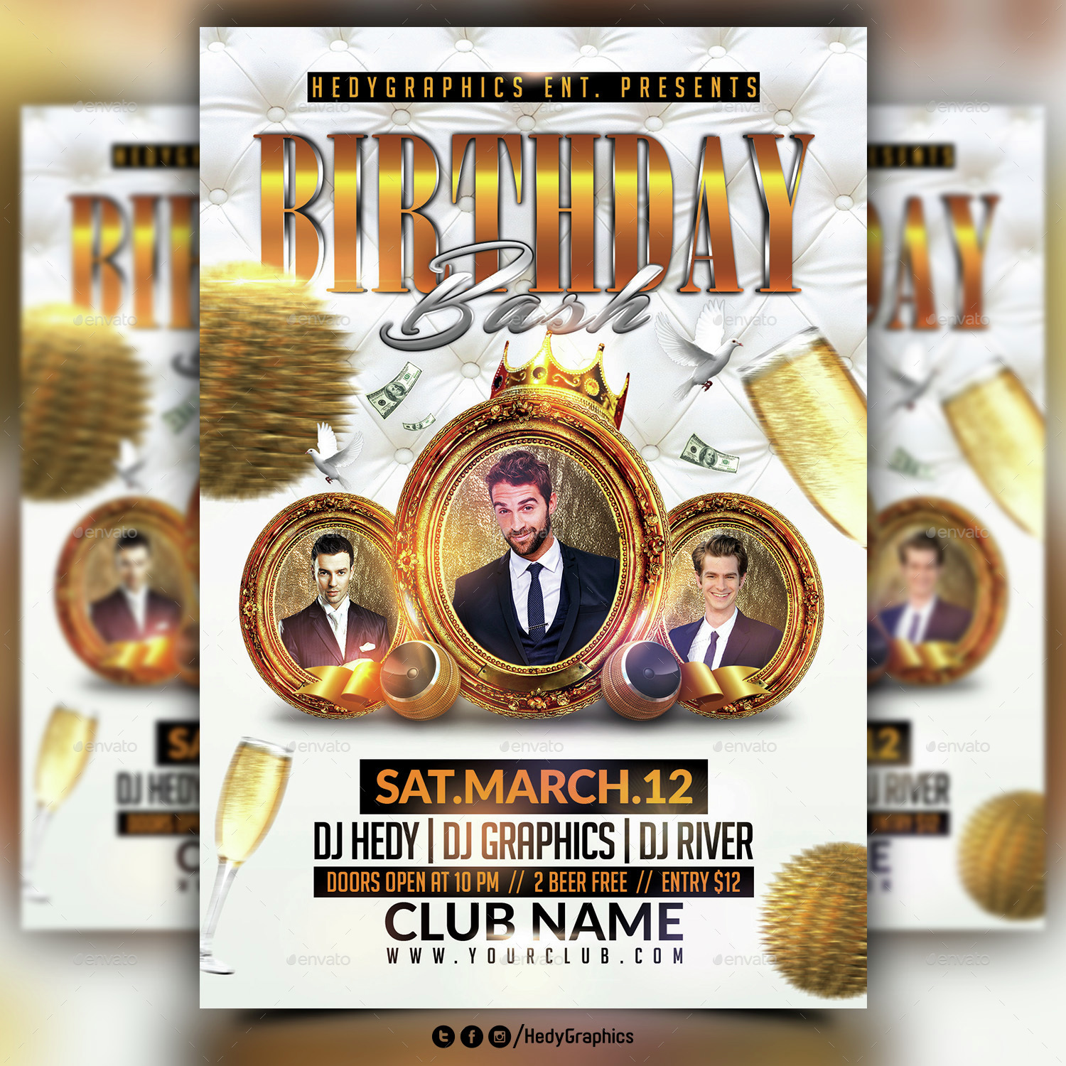 birthday bash flyer template by hedygraphics graphicriver