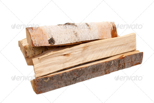 Firewood on white - Stock Photo - Images