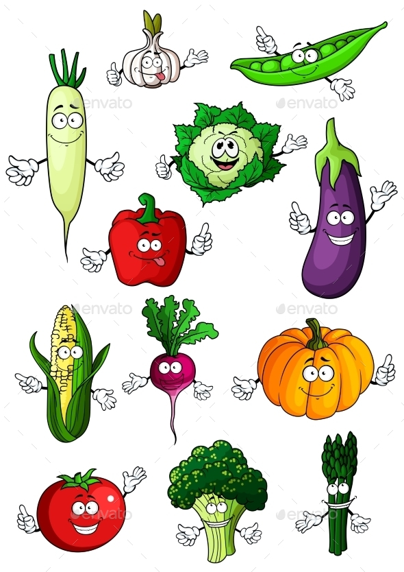 Healthful Organic Vegetables Cartoon Characters - Food Objects