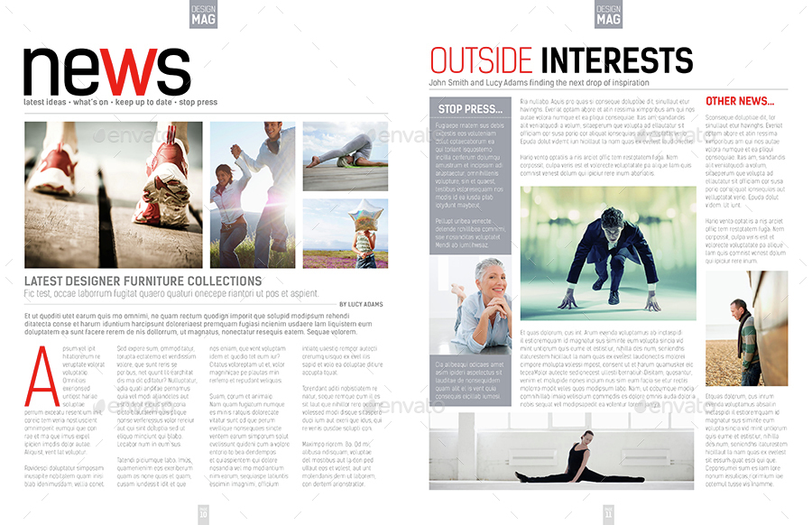 Magazine Template - InDesign 40 Page Layout V7 by BoxedCreative ...