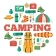 Camping Equipment Set Circle Infographics Template - GraphicRiver Item for Sale