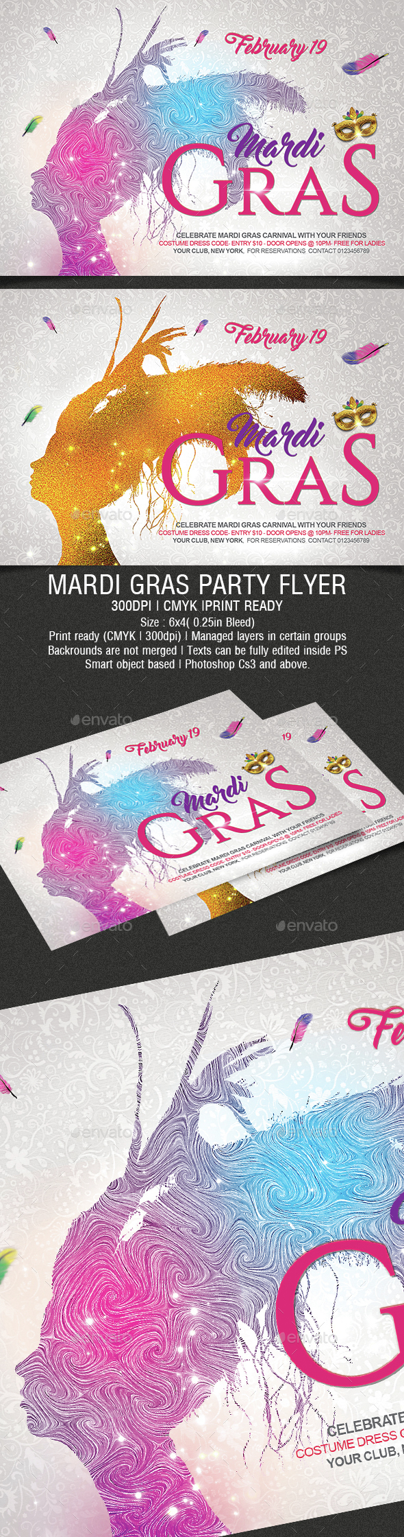 Mardi Gras Party Flyer - Holidays Events