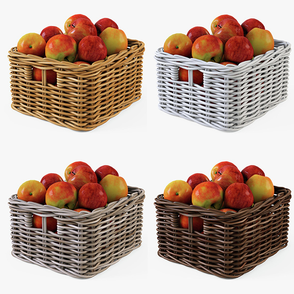 Wicker Apple Basket Ikea Byholma 1 Set(4 Color) - 3DOcean Item for Sale
