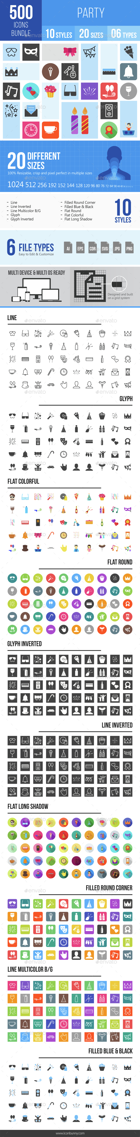 500 Party Icons Bundle - Icons