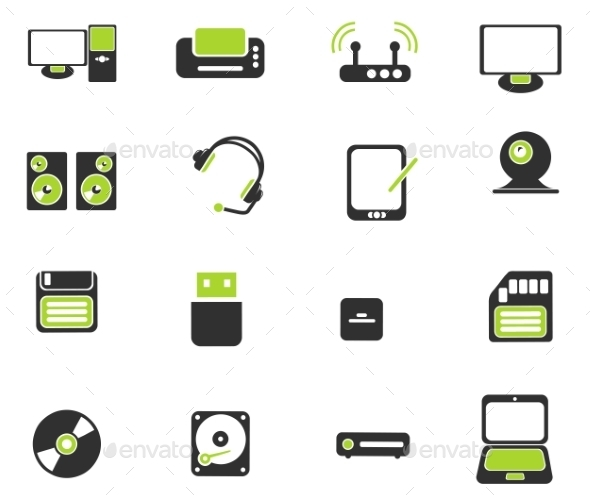 Computer Equipment Simple Vector Icons - Icons