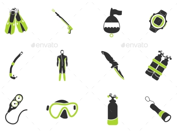 Equipment For Diving - Icons