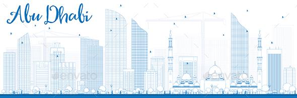 Outline Abu Dhabi City Skyline - Buildings Objects