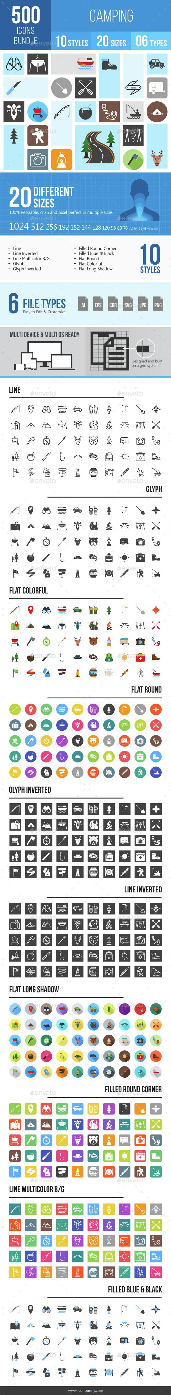 500 Camping Icons Bundle - Icons