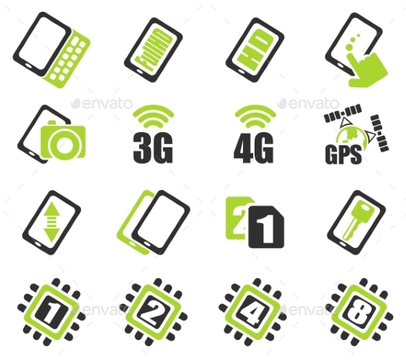 Mobile Or Smartphone Specifications And Functions - Icons