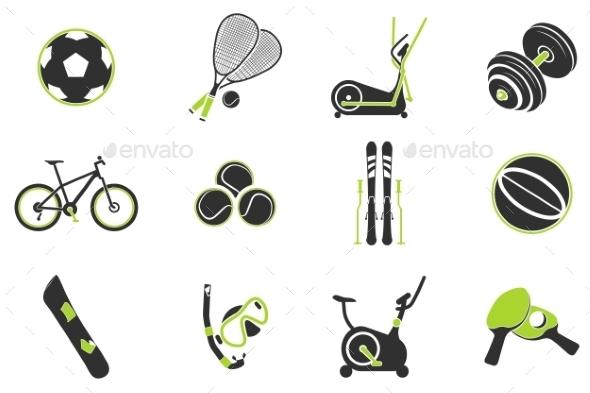 Sport Equipment Symbols - Icons