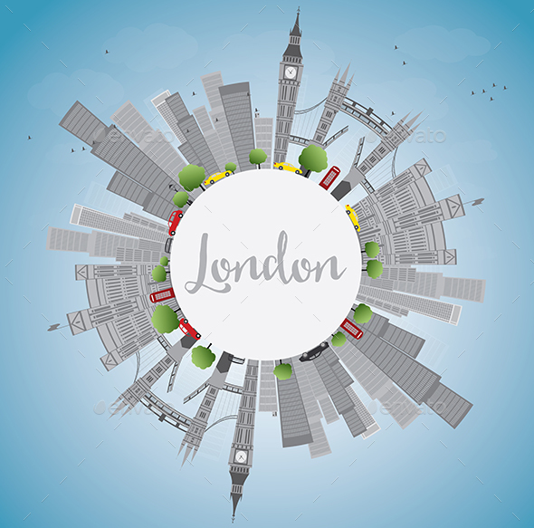 London Skyline with Gray Landmarks and Blue Sky. - Buildings Objects