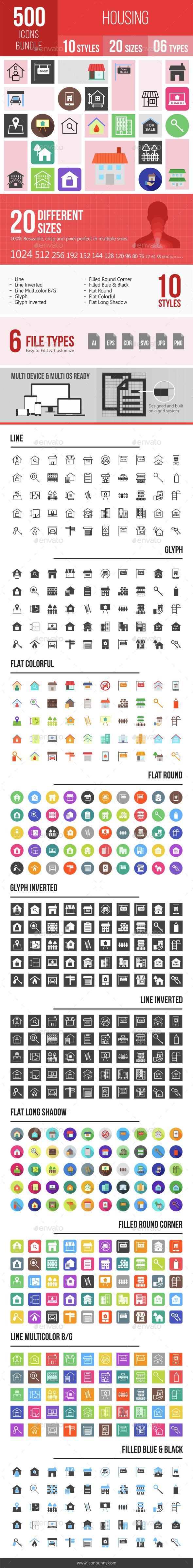 500 Housing Icons Bundle - Icons
